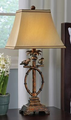"""Tropical Antique Look Bird Table Lamp for New House already bought. 13'L x 10"""" W x 23""""H"""