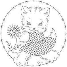 Happy Kitten from Needlecrafter.com (tons of embroidery patters)