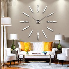 DIY Living Room Decor Will Make Your Living Room The Coziest Place in the House Tags: diy living room design, diy living room makeover, diy living room apartment decor, diy living room wall decor, diy living room shelves Wall Clock Kits, Wall Clock Sticker, Big Wall Clocks, Mirror Wall Clock, Living Room Clocks, Wall Clock Design, Living Room Decor, Metal Mirror, Wall Stickers
