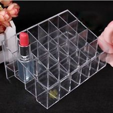 24 Trapezoid Clear  Makeup Cosmetic Organizer Lipstick Holder Display Stand Box