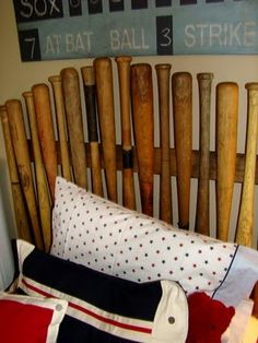 Itsy Bits and Pieces: Bachman's Spring Ideas House -- headboard made of baseball bats #maudelovesbachmans