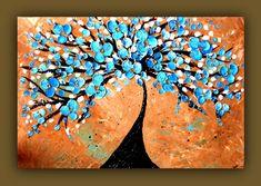 Blue Tree Painting Blue Flower Painting by DistinctiveModernArt, $225.00