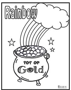 Rainbow pot of gold sun and cloud coloring pages for Pot of gold with rainbow coloring page