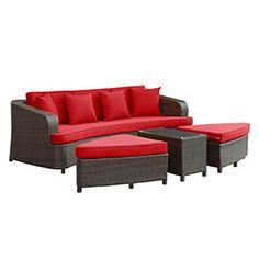 Monterey 4 Piece Outdoor Patio Sofa Set Monterey 4 Piece Outdoor Patio Sofa Set in Brown Red