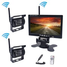 87.55$  Watch here - Accfly Dual 12V 24V Wireless car reverse backup rear view camera for trucks bus excavator Caravan Van RV Trailer with Monitor   #shopstyle