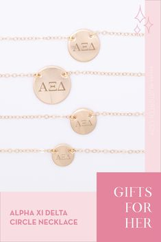 Sorority circle necklaces are the easiest gift for any celebration: Recruitment, Bid Day, Back to School & Big/Little. Spoil your new sorority girl with our simple and dainty Greek letter circle necklace! Alpha Xi Delta Gifts | Alpha Xi Delta Bid Day | AXiD Necklace | Alpha Xi Delta Jewelry | Sorority Bid Day | Sorority Recruitment | Sorority Jewelry Gifts | Sorority College Gift | Sorority New Member Gift Ideas | Dainty Jewelry | Simple Gold Necklace #SororityGifts #SororityJewelry