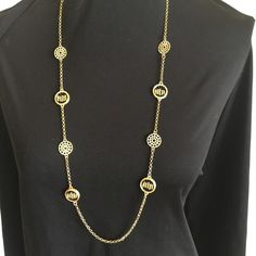 The Wimbledon Station Necklace & Earring Set 36 inch necklace with black and gold tone accent pieces can be worn long or doubled up for a shorter, layered look. Black and gold dangle earrings complete the look. Jewelry Necklaces