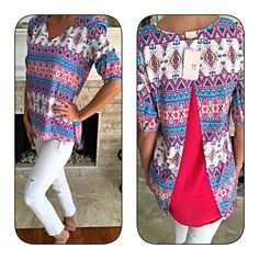 Stunning hi lo fuchsia back blouse! Last chance!! Beautiful color! V neck fully line in fuchsia with detail in back- Aztec print with turquoise- royal blue-yellow and pink! Gorgeous with white skinny jeans and sandals!  Follow me on Instagram @kfab333 for more items Tops Blouses