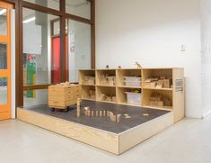 The wood blocks Block Center, Block Area, Inspired Learning, Timber Wood, Baby Center, Learning Spaces, Wood Blocks, School Design, Montessori