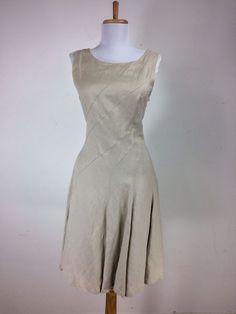 Calvin Klein Dress Size 4 Linen Beige Sleeveless Pintucks Career Fit & Flare S #CalvinKlein #FitFlare #WeartoWork