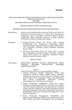 Permen 16 th 2012 Pedoman Penyusunan Dokumen Lingkungan Hidup