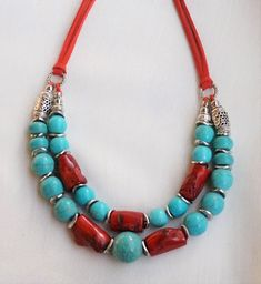 Coral necklace Turquoise necklace Red coral Turquoise necklace Handmade jewelry Gift Valentines day gift Gift for her - Turquoise Jewelry, Boho Jewelry, Gemstone Jewelry, Jewelry Gifts, Beaded Jewelry, Fine Jewelry, Beaded Necklace, Fashion Jewelry, Jewelry Making