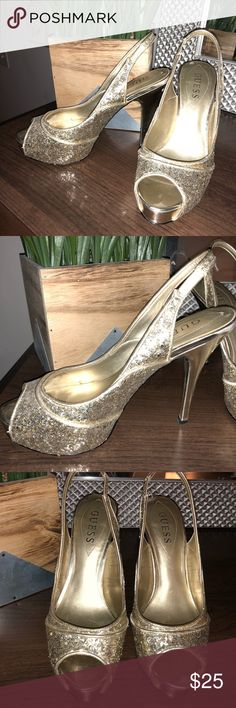 💓MAKE AN OFFER GUESS gold heels size 6.5 heels 💗 Worn one time! See photos for very minimum wear on soles. Gorgeous gold glitter Guess heels!  Check out my closet to bundle for a better offer 💗 Guess Shoes Heels