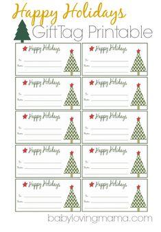 Happy Holidays Gift Tag Printable #freeprintable #gifttags