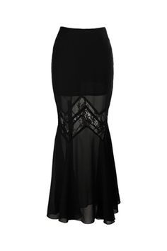 fitted hip hugging floor length skirt cascades into a semi-transparent fishtail with zigzag lace panel.