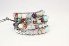 5 x wrap bracelet with only natural gem stones