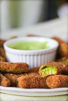 Avocado fries with cilantro lemon dipping sauce. Yum!