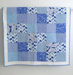 Modern Baby Boy Quilt Featuring Whimsical by KimsQuiltingStudio Baby Boy Quilt Patterns, Baby Girl Quilts, Girls Quilts, Quilt Studio, Whole Cloth Quilts, Keepsake Quilting, Handmade Baby Quilts, Quilt Batting, Whales