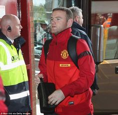 Rooney arrives in a United tracksuit, giving no clue that he wouldnt be playing