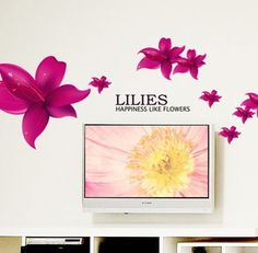New Design Lilies Happiness Like Flowers Quote Red Lily Flowers DIY Removable Wall Decal Home Decor
