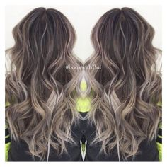 awesome beautiful long dark brown hair with lots of cool tone ash blonde... ❤ liked on...