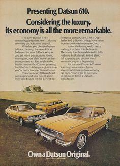 1972 Nissan Datsun 610 Car Ad Vintage Advertising Wall Art Decor