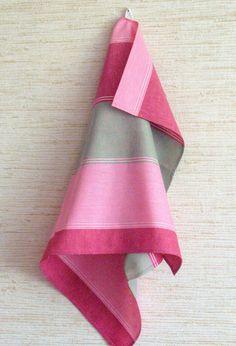 Tea Towel Set Stripes Striped Kitchen Towels Linen Towel Linen Hand Towels Tea Towels Linen Dish Towel Green Pink Red Towels set of 2 Linen Towels, Dish Towels, Hand Towels, Tea Towels, Pastel Kitchen, Pink Baths, Kitchen Towels, Pink Grey, Pretty In Pink