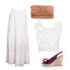 #EstiloMVD a puro blanco! Falda Wanama, blusa Uniform, sobre Jolie, sandalias Stadium