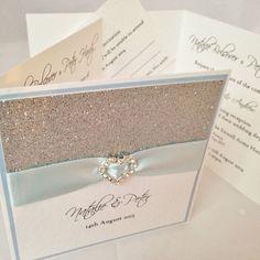 *All That Sparkles* pocket fold wedding day evening invitation & RSVP *SAMPLE*