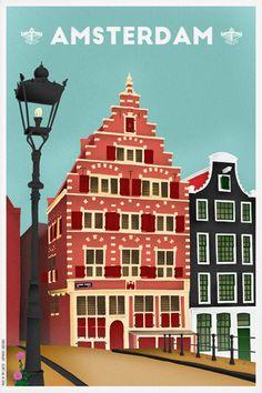 Travelposter of Amsterdam -  Oudezijdsvoorburgwal