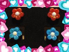 Red - Blue - Flower - Girls - Stud - Earrings by YouveGotSparkle on Etsy