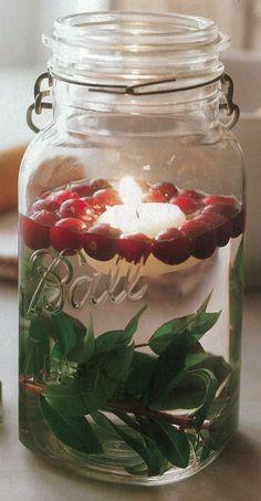 Simple- Christmas cranberry mason jar decoration.