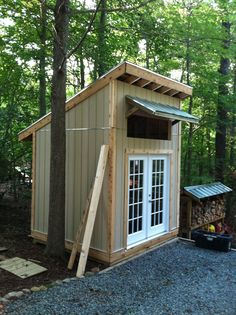 Storage shed.We need something small like this to fit between the filbert tree and the dog run