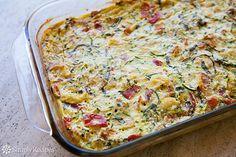 Zucchini Breakfast Casserole ~ Savory zucchini casserole with eggs, ricotta cheese, Parmesan, plum tomatoes, bread, and basil. Zucchini ricotta strata. ~ SimplyRecipes.com
