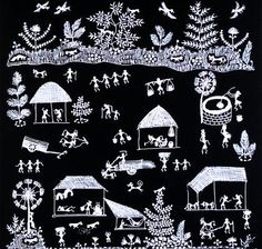 These paintings don't depict the Hindu Gods and Goddesses or any other deities rather they depict the normal, day to day and social life of common people. These paintings are mainly created on mud walls of tribal houses. Women are mainly engaged in the creation of these paintings.The style: The trademark of Warli paintings is the use of geometric designs such as triangles, circles, squares, dots and crooked lines.