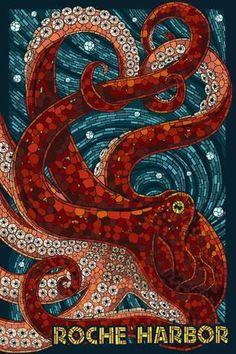 Wall Mural: Roche Harbor, Washington - Octopus Mosaic by Lantern Press : 72x48in