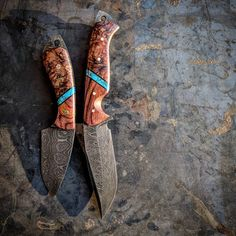 "903 Likes, 11 Comments - VORN Knives (@vorn_knives) on Instagram: ""Skálpr and VALDÝR in Damascus Cocobolo / Turquoise / Spalted Maple Burl #cocobolo #turquoise…"""