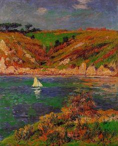 Voiliers en Bretagne, huile sur toile de Henri Moret (1856-1913, France)