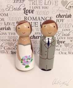 Custom Wooden Peg Doll - Cake Topper - Hand painted wood doll
