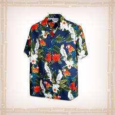 "FREE SHIPPING – EVERY ORDER, EVERY DAY! Hawaiian Shirt ""Birds Of A Flower"" By Pacific Legend – Navy  Coconut shell buttons and matching print engineered chest pocket. This Pacific Legend Hawaiian Shirt Garment is 100% Cotton and MADE IN HAWAII. http://hawaiianshirtdude.com/product/hawaiian-shirt-birds-of-a-flower-by-pacific-legend-navy/"