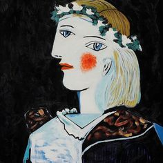 """""""Lover"""" """"Portrait of Marie-Thérèse Walter with Garland (1937) """" by Pablo Picasso #lover #pablopicasso #painting #art #love"""