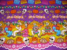 DAY OF THE DEAD FABRIC BY THE YARD BANNER ALTAR CLOTH TABLECLOTH DIA DE MUERTOS | eBay