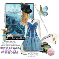 """Alice in Steampunk"" set actually sold. Pretty cool, worth putting up for ideas. Steampunk Cosplay, Steampunk Halloween, Steampunk Clothing, Steampunk Diy, Steampunk Fashion, Character Inspired Outfits, Disney Inspired Outfits, Themed Outfits, Disney Outfits"
