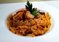 Spicy Sausage and Shrimp Pasta - Food, Glorious Food:) - Garnelen Spicy Sausage, How To Cook Sausage, Sausage Pasta, How To Cook Shrimp, How To Cook Pasta, Shrimp Pasta, Pasta Food, Basil Pasta, Shrimp Dishes