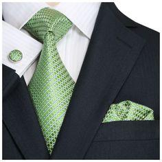 Mens 100% Silk Neck Tie; Landisun Fashion 98T Prasinous Green, small textured check. Comes as a set: tie, handkerchief and cufflinks.