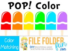 Learning colors:  Choose a popsicle top and find the correct bottom to match. Game Assembly: Mount popsicle bottoms to the file folder.  Cut out the popsicle tops for playing pieces. Expans...