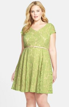 Gabby Skye Belted Lace Fit & Flare Dress (Plus Size) available at #Nordstrom #iwantthisdress
