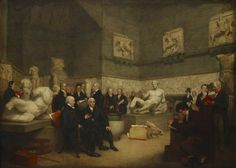 A portrait depicting the Elgin Marbles in a temporary Elgin Room at the British Museum surrounded by English staff, a trustee and visitors, Statuary from the east pediment and the Selene Horse are visible. Lawrence Alma Tadema, Lord Byron, George Clooney, Ancient Egypt, Ancient History, Westminster, Archer, Elgin Marbles, Ancient Artefacts