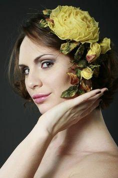 Купить Желтые розы брошь-заколка. Ободок из роз.Ободок с цветами. - жёлтый, желтый цвет