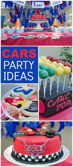 A 3 year old birthday party all about Lightning McQueen and Cars! See more party ideas at CatchMyParty.com!